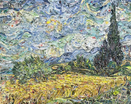 Wheat Field with Cypresses, after Van Gogh by Vik Muniz. Source: �Vik Muniz; Courtesy of Sikkema Jenkins & Co., New York