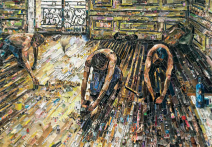 Floor Scrapers, after Gustave Caillebotte  by Vik Muniz. Source: �Vik Muniz; Courtesy of Sikkema Jenkins & Co., New York