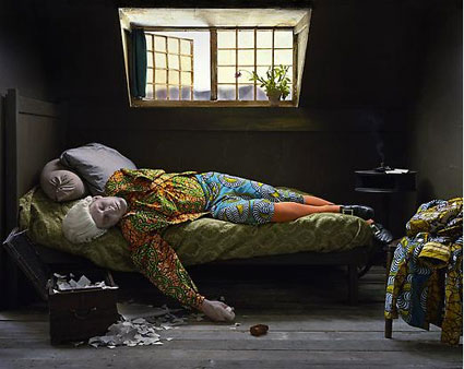 Fake Death Picture (The Death of Chatterton - Henry Wallis) by Yinka Shonibare, MBE. Source: jamescohan.com