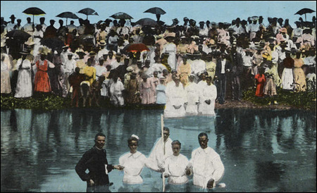 Negro Baptizing Scene, Greenville, Miss., 1920s by Curt Teich & Co.. Source: icp.org